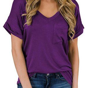 V-neck pocket short sleeve top 1